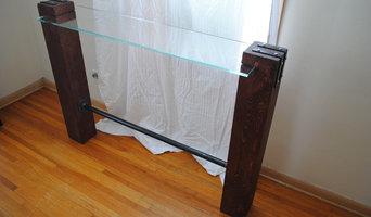 Cedar and Glass Table