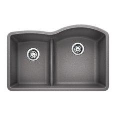 "Blanco Diamond Metallic Gray, Double-Bowl Sink 32""x20"" Silgranit"