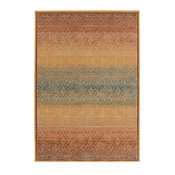 "Southwestern/Lodge Arabesque Area Rug, Rectangle, Gold, 8'10""x12'9"""