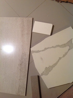 Hubby Just Came Back With Wall Shower Tile And Countertop....along With 2  Possibilities Of Threshold....i Have Never Seen Floor Tiles Applied To  Threshold ...