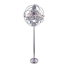Elegant Furniture & Lighting - Elegant 1130FL24PN-SS/RC Geneva Floor Lamp in Polished nickel - Floor Lamps