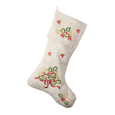 Embroidered Holly Design Decorative Linen Blend Christmas Stocking