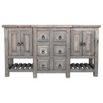 """FoxDen Decor - Robertson Reclaimed Bathroom Vanity, Gray, 60""""x20""""x32"""" - This bathroom vanity is truly a work of art! Crafted from reclaimed and salvaged lumber, this rustic bathroom vanity has it all.  The 6 fully functional drawers in the center easily slide on full extension metal rails, giving you plenty of storage space.  The cabinets on either end are spacious inside which allows room for plumbing as well as other small items.  The slatted shelves below are perfect for decorative items, towels or can be left open.  The center of the vanity protrudes two inches allowing more space for the drawers and allowing enough space for a tower to be added if desired."""