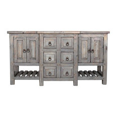 "Robertson Reclaimed Bathroom Vanity, Gray, 60""x20""x32"""