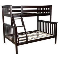 Modern Twin over Full Bunk Bed Frame, Solid Pine Wood Espresso Finish