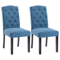 Costway Set of 2 Linen Fabric Wood Accent Dining Chair Tufted Modern Room