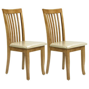 Contemporary Set of 2 Chairs, Light Brown Finished Wood With Faux Leather Seat