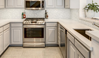Porcelain and Glass Backsplash and Porcelain Plank Flooring