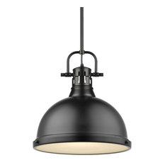 Duncan 1 Light Pendant, Rod, Black, Matte Black Shade