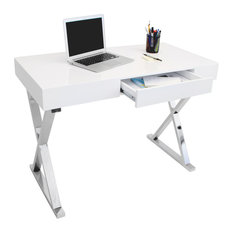 Luster Contemporary Office Desk, White