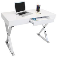 LumiSource Luster Office Desk, White and Chrome