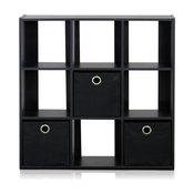 Furinno Simplistic 9-Cube Organizer, Espresso/Black
