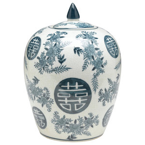 2202c7896a5a Blue and White Ginger Jar With Lid - Asian - Decorative Jars And ...