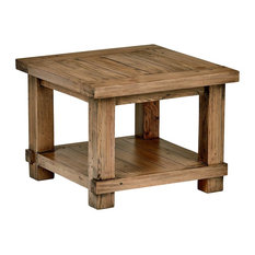 Modern Side-End Table, Solid Reclaimed Pine Wood With Bottom Open Shelf