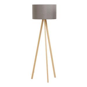 Brooklyn Scandinavian Floor Lamp, Grey/Natural