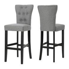 GDF Studio Padma Tufted Back Fabric Barstools, Gray, Set of 2