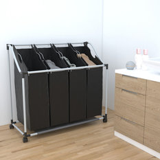 VidaXL Laundry Sorter With 4 Bags, Black and Grey