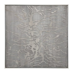 """Large 41"""" Square Silver Metallic Abstract Painting, Animal Print Wall Art Design"""