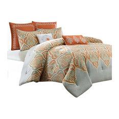 Sateen Printed Comforter 5-Piece Set, Orange, Twin