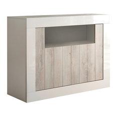 Lipari Walnut Console Table, White
