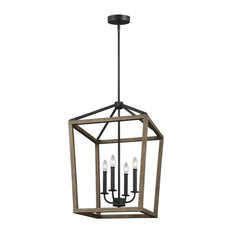 "Gannet 18"" 4-Light Chandelier, Weathered Oak Wood, Antique Forged"