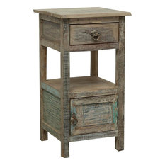 Recycled Wood Bedside Table, Antique Teal