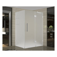 """Avalux GS Frameless Shower Enclosure With Frosted Shelves, Chrome, 48""""x30""""x72"""""""