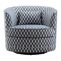 Dmitri Swivel Barrel Chair, Navy, White
