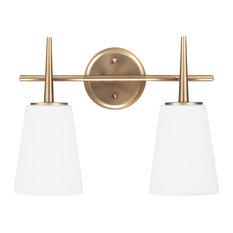 sea gull lighting two light wallbath satin bronze bathroom vanity lighting - Lowes Bathroom Lighting