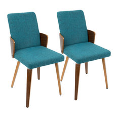 Carmella Mid-Century Modern Dining/Accent Chairs- Set of 2 Walnut and Teal by LumiSource