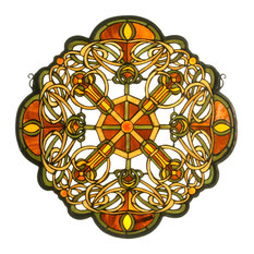 """25""""Wx25""""H Galway Medallion Stained Glass Window"""
