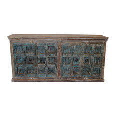 Consigned Antique Rustic Old Door Buffet Distressed Blue Sideboard Media Cabinet