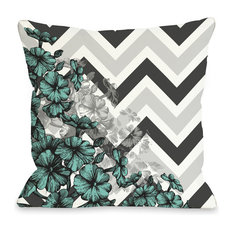 """""""Amber Chevron Floral"""" Indoor Throw Pillow by OneBellaCasa, Turquoise, 18""""x18"""""""