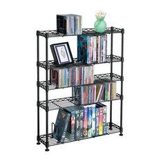 """Pemberly Row 31"""" 5-Tier Adjustable Multimedia Storage Rack, Black"""