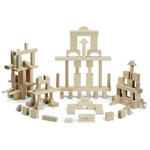 "Maple Landmark - Master Builder Natural Wood Block Set 104 Pieces - Crafted from locally sourced, sustainably harvested maple hardwood, the Master Builder Set of Montgomery Schoolhouse building blocks contains 104 pieces in 21 different shapes. The base block unit is 1"" and each dimension of all blocks is a multiple of 1"" so blocks can be stacked cleanly and uniformly. Each set comes in a sturdy box for storage.Made in the USA."