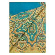 Samira Paisley 100% Cotton jacquard Throw, Turquoise