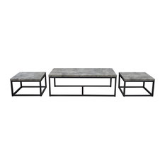 Diamond Sofa Atlus Nesting Cocktail, Faux Concrete Tops, 3-Piece Set