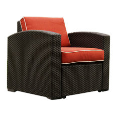 Patio Chairs, Set of 2, and Side Table Brown With Cajun Red Fabric