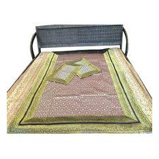 Mogul Interior - Silk Sari Bedspread Tapestry, Twin Size - Blankets