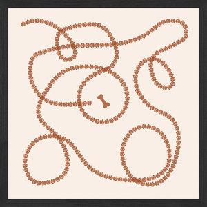 """Aboriginal Animal Tracks"" Framed Art Print, 55x55 cm"