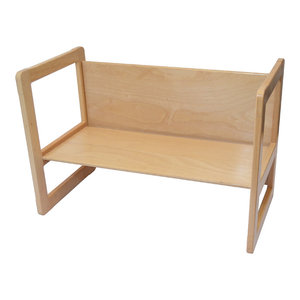 3 in 1 Children's Multifunctional Wooden Bench, Large, Natural
