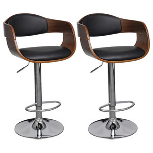 vidaXL Adjustable Swivel Bar Stools Leather With Backrest, Set of 2