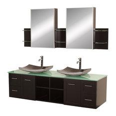 "Avara 72"" Espresso Double Vanity, Altair Black Granite, Green Glass"