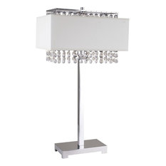 "28""H White Square Crystal Table Lamp"