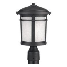 "Progress Lighting Wish 1-Light, Post Lantern 9"", Black"