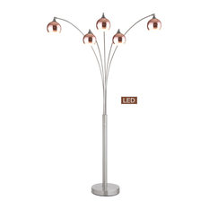 Amore LED Arched Floor Lamp With Dimmer, Rose Copper Brushed Steel