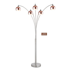 Micah Led Arched Floor Lamp With Dimmer Brushed Steel