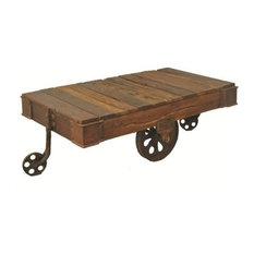 Moti Metal And Relaimed Wood Wheel Coffee Table Coffee Tables