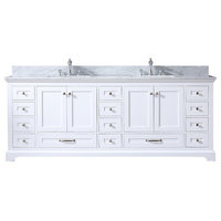 "Dukes 84"" Double Vanity, Carrara Marble, Square Sinks, No Mirror, White"