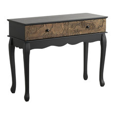 Spruce Wood Carved Console Table